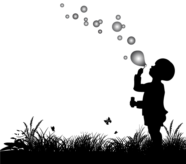 391-vector-silhouette-of-small-boy-blowing-bubbles